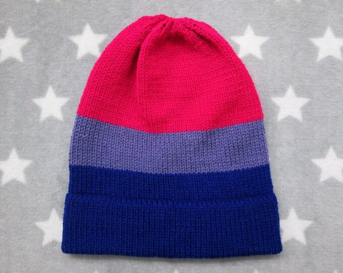 Knit Pride Hat - Bi Pride - Slouchy Beanie - Vivid Colors