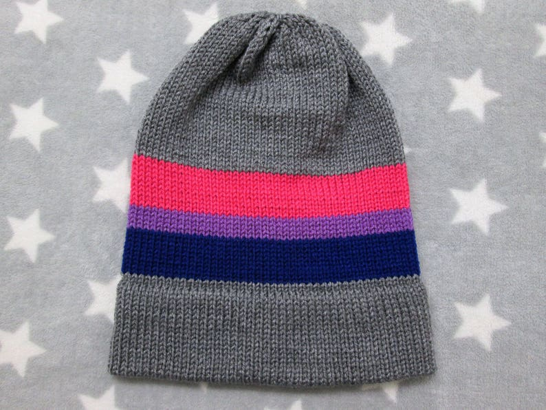 603cdeb78b6 Knit Pride Hat Bi Pride Grey Slouchy Beanie