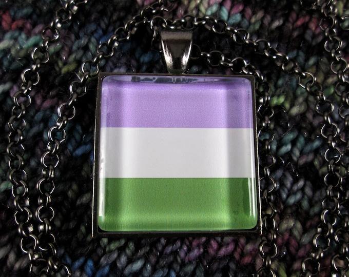Genderqueer Pride Flag Necklace - Gunmetal - Rolo Chain