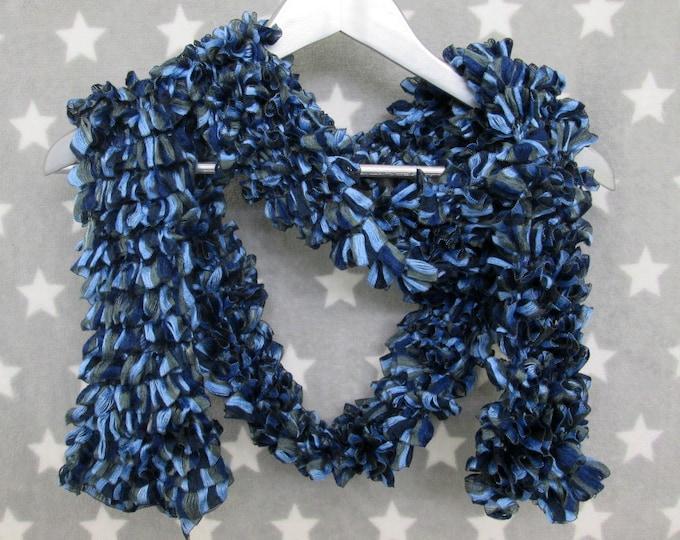 Feathery Ruffle Scarf - Navy Blue Grey
