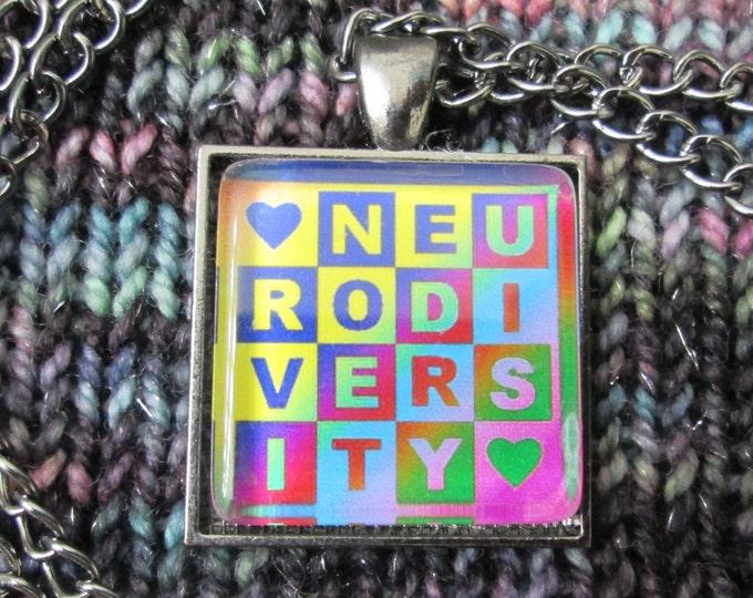 Neurodiversity Necklace - Dark Rainbow - Square Checker Design