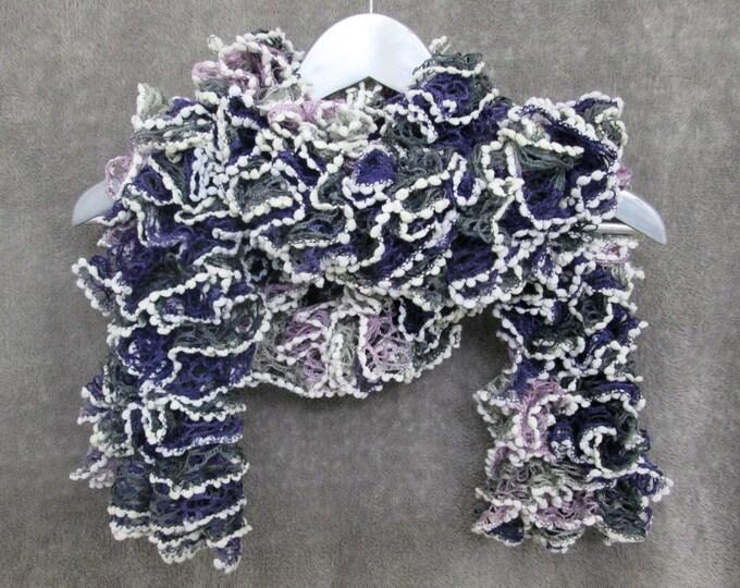 Alien Sea Life Scarf - Purple, Grey & White Ruffles