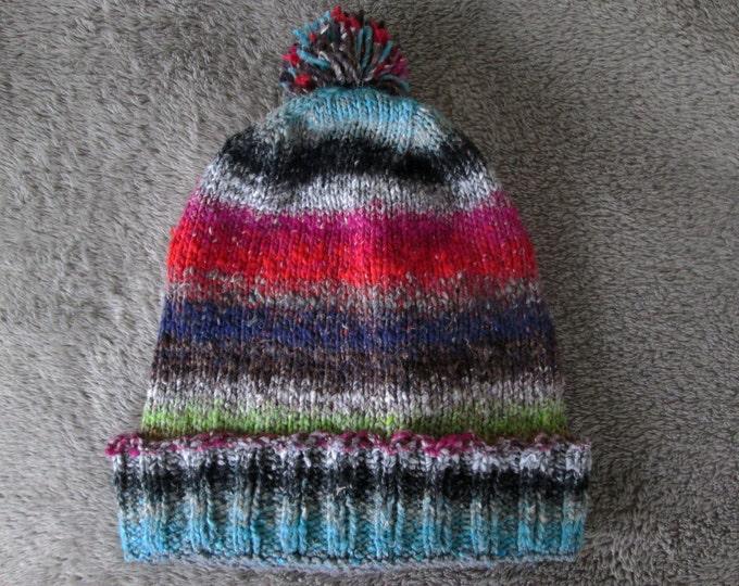 Knit Slouchy Noro Hat - Red Grey Black Purple Green Blue Tan White