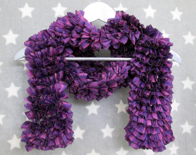Feathery Ruffle Scarf - Purple Sparkles