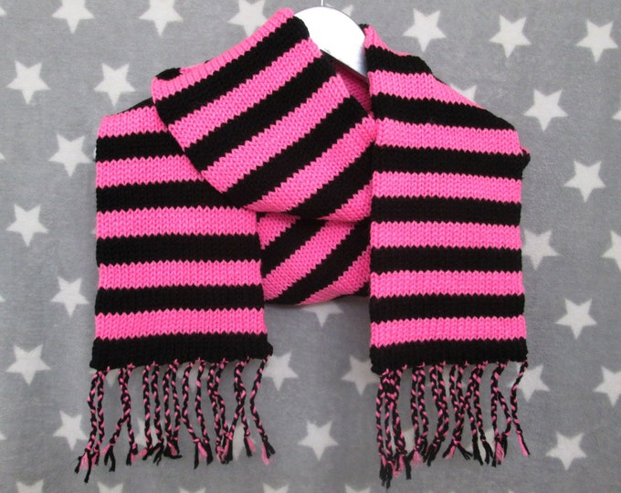 Knit Scarf - Neon Pink & Black Stripes