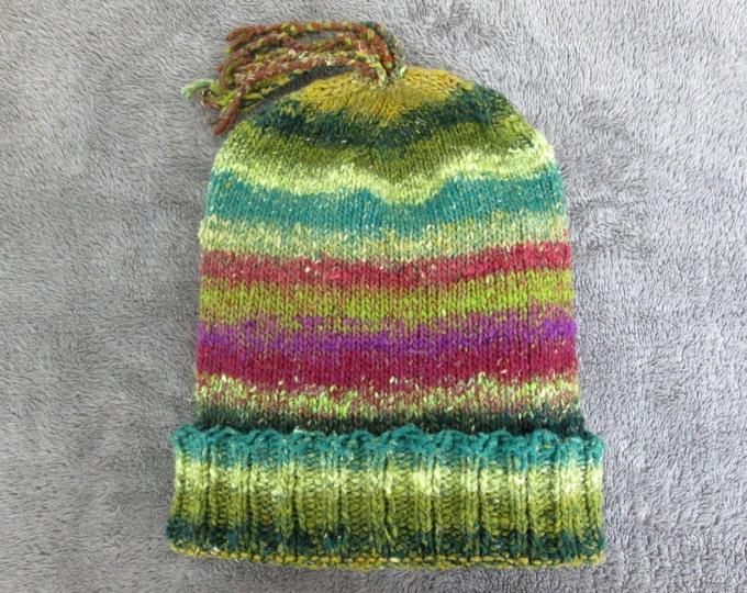 Knit Slouchy Noro Hat - Multicolor Earthtones