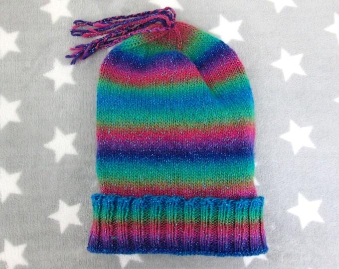 Knit Slouchy Hat - Jeweltone Glitter Rainbow