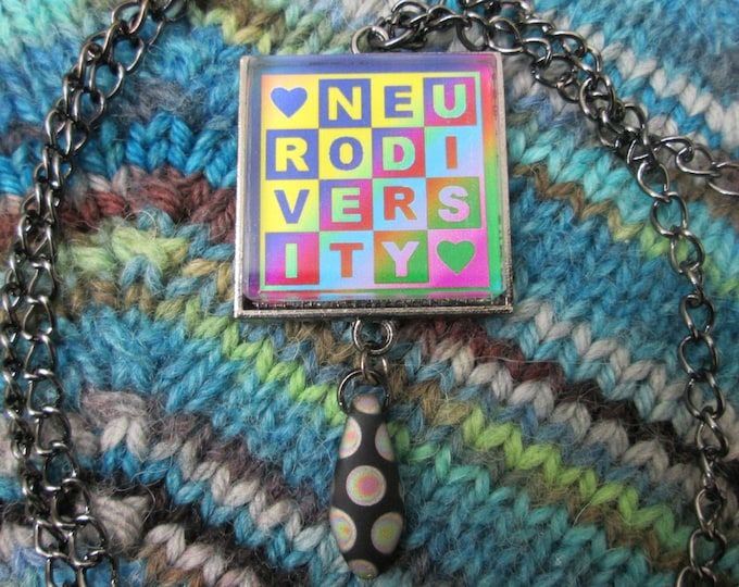Neurodiversity Necklace - Dark Rainbow - Square Checker Design with Bead
