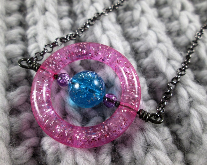 Saturn Spinner Pendant Necklace - Pink Blue Purple Glitter - Long Chain