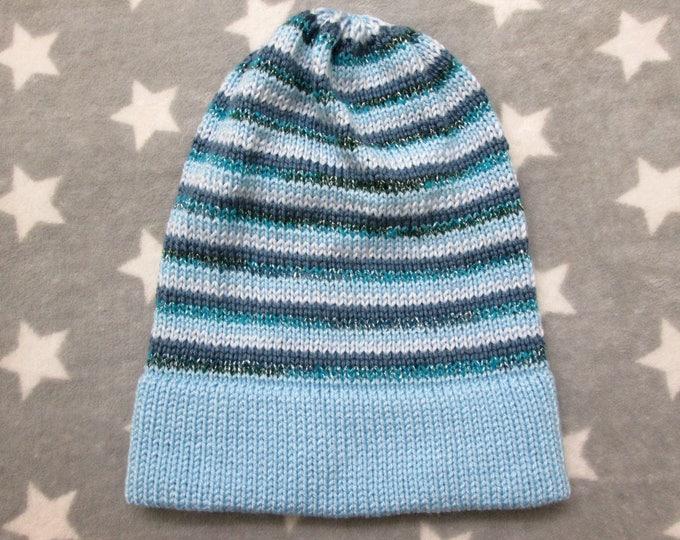 Knit Slouchy Hat - Glow-In-The-Dark & Glitter - Light Blue Stripes
