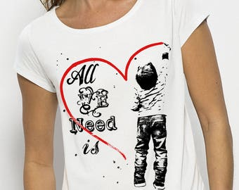 "Top draped effect woman ""All We Need Is Love"" short sleeve, white, 100% modal"