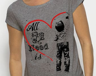 "Top draped effect woman ""All We Need Is Love"" short sleeve Heather grey, 100% modal"