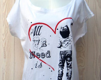 "Oversize women ""All We Need Is Love"" short sleeve t-shirt, white, 100% cotton organic"
