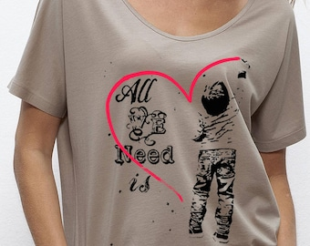 "Oversize top woman ""All We Need Is Love"" short sleeves, nude, cotton, organic, tencel"