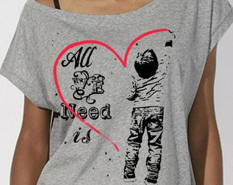"T-shirt oversize women ""All We Need Is Love"" short sleeve Heather grey, 100% cotton organic"