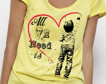 "Organic tee shirt tunic woman ""All We Need Is Love"" V-neck short sleeve, light yellow cotton"
