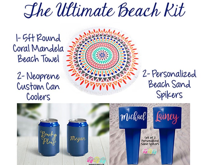 The Ultimate Beach Kit - 5ft Round Beach Towel - 2 Neoprene Custom Can Coolers - 2 Personalized Beach Sand Spikers - Vacation Can Coolers