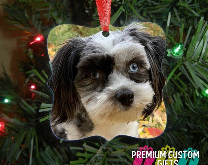 Pet Christmas Ornament - Monogrammed Ornament - Double Sided Aluminum - Dog Ornament - Cat Ornament - Pet Christmas Gift