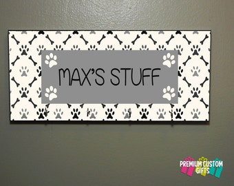 Hang Your Pet's Leashes and Collars On This MDF Made Wall Hanger - Personalized Leash Holder and Dog Leash Hanger