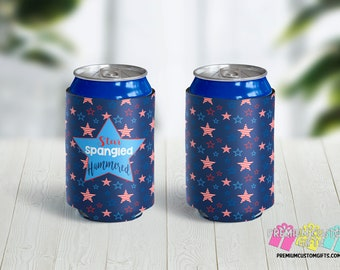 Star Spangled Hammered Can Coolers - 4th of July Can Coolies - Personalized Can Coolers -  Independence Day Coolers - Beer Coolies - Holiday