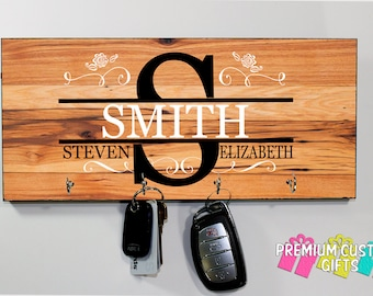 Family Name With Key Hanger Made Of MDF - Client Gift- Realtor Client Gift - Housewarming Gift - Design #KH133