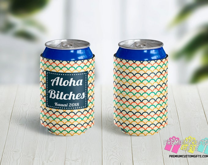 Aloha Can Coolers - Personalized Can Coolers - Bachelorette Can Coolers - Custom Coolies - Vacation Can Coolers - Destination Can Coolers