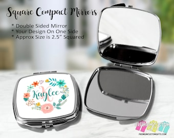 Personalized Compact Mirror - Bridal Party Gifts - Wedding Party Gifts - Custom Pocket Mirror - Double Mirror - Purse Compact Mirror