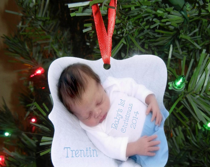 Baby's 1st Christmas Ornament - Monogrammed Ornament - Double Sided Aluminum - Design #OR103