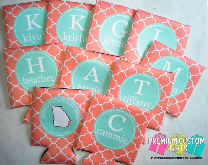 Set of 10 Custom Bachelorette Can Coolers - Personalized Vacation Coolies - Custom Can Coolers - Fits Most Bottles