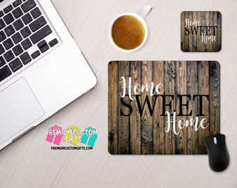 Home Sweet Home Custom Mouse Pad and Coaster Set - Great For The Home And Office Desks