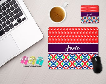 Monogrammed Mouse Pad and Coaster Set With Your Name- Mouse Pad Desk Set With Bright Design Great For Home Office, School or Work Desk