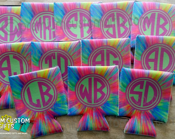 Set of 12 Can Coolers - Personalized Can Coolers - Birthday Can Coolies - Vacation Can Coolers - Monogrammed Can Coolers - Wedding Favors
