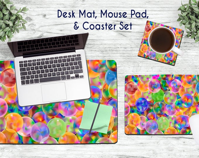 Multi-Colored Bubbles Desk Set - Desk Accessories - Mouse Pad - Desk Mat - Coaster - Monogram Mouse Pad - Bright Desk Set -  Office Desk Set