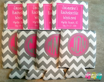 Set of 8 Personalized Bachelorette Can Coolies  - Beer Can Coolers - Custom Wedding Can Coolers - Birthday Coolies - Vacation