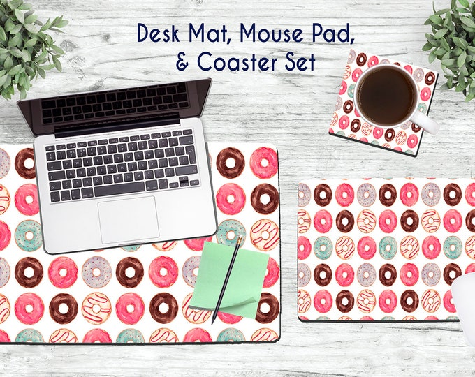 Donuts Desk Set - Desk Accessories - Mouse Pad - Desk Mat - Coaster - Monogram Mouse Pad - Custom Mouse Pad - Donut Gifts - Donut Party
