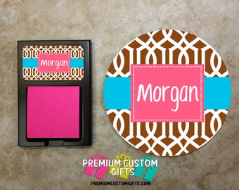 Desk Set Combo - Matching Mouse Pad and Sticky Note Holder - Monogrammed Gift Set - Co-Worker Gift - Office Gift - Design #MPSH108