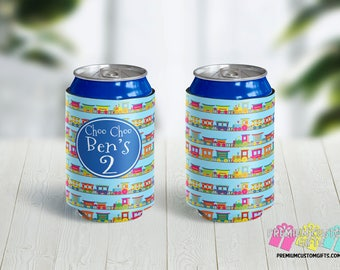 Kids Birthday Party Favor Can Coolers - Personalized Can Coolers - Bachelorette Can Cooler - Custom Coolies -  Custom Party Favors - Trains