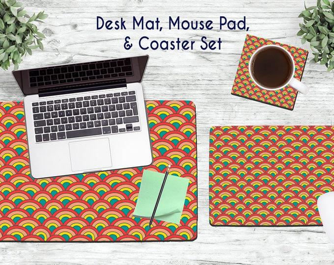 Retro Desk Set - Desk Accessories - Mouse Pad - Desk Mat - Coaster - Monogram Mouse Pad - Retro Bright Mouse Pad -  Office Desk Set