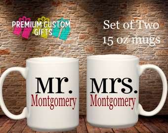 Set of Two 15 Oz Ceramic Mugs - Custom Mr and Mrs Mugs - Coffee Cup - Personalized Mugs - Custom Coffee Cups