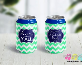 Cheers Y'all Can Coolers - Bachelorette Party Can Coolers - Personalized Can Coolies - Monogrammed Beer Can Coolers - Bachelor Can Cooler