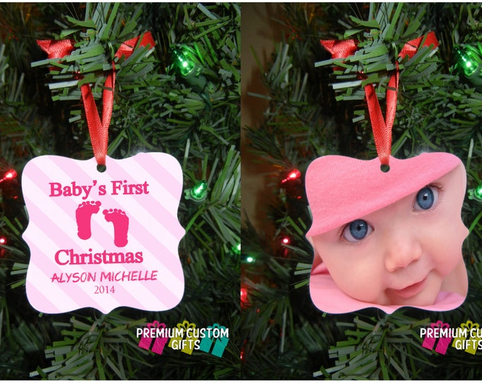Two Sided Baby's First Christmas Ornament - Baby Ornament - New Parents Gift - Baby Shower Gift - Custom Ornament Design #OR106