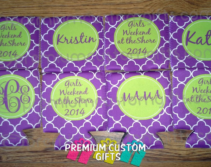 8 Custom Can Coolers - Personalized Beverage Coolers For Your Annual Girls Weekend - Fun Colors And Designs Available Design#K132