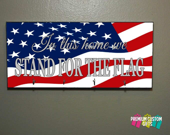 Custom Wood Key Holder For Wall - Made Of MDF Wall Key Hanger - Stand For The Flag - Patriotic - American Flag Key Hanger