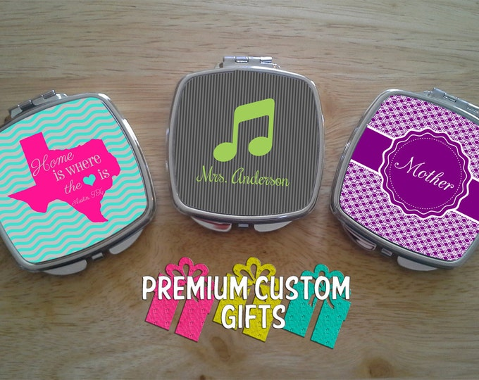 Compact Mirrors - Personalized For A One Of A Kind Gift - Set of 3 Pocket Mirrors - Personalized Pocket Mirrors Design#C105