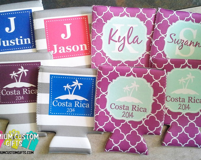 8 Custom Vacation Can Coolers - Personalized Can Coolies - Vacation - Wedding Can Coolers - Monogram Can Coolers - Custom Monogram Coolers