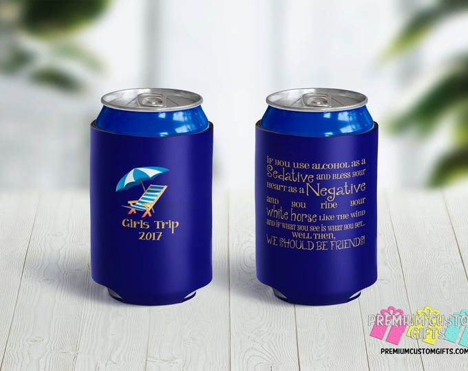 Girls Trip Can Coolers -Beach Party Can Coolers - Bachelorette Can Coolers - Custom Coolies - Wedding Party Favors - Vacation Can Coolers