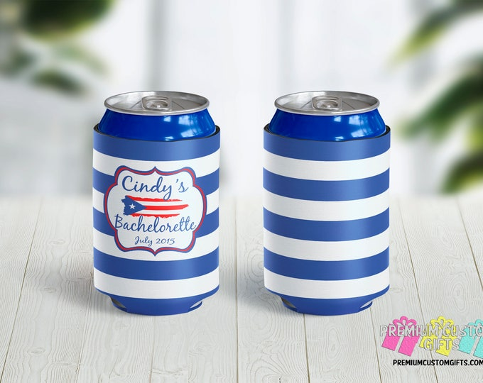 Destination Bachelorette Can Coolers - Personalized Can Coolers - Bachelor Can Cooler - Custom Coolies -  Custom Party Favors - Can Coolers