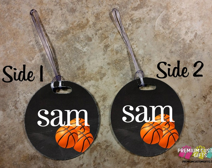 Personalized Basketball Luggage Tag - Custom Travel Luggage Tag - Sports Bag Tags - Monogram Bag Tag - Personalized Tag - Design #BT116
