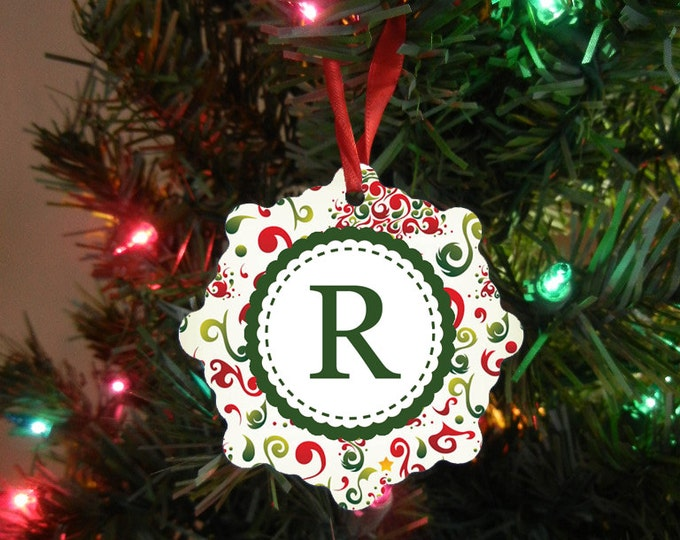 Monogrammed Initial Ornament - Our First Christmas Ornament - Wedding Gift - Christmas Gift Design #OR116