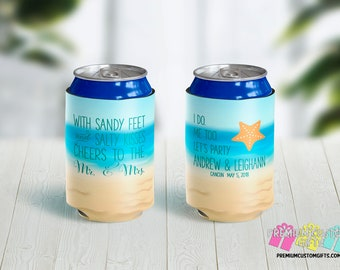 Custom Wedding Can Coolers - Destination Can Coolers - Cheers to the Mr and Mrs Can Coolers - Salty Feet and Sandy Kisses Can Coolies
